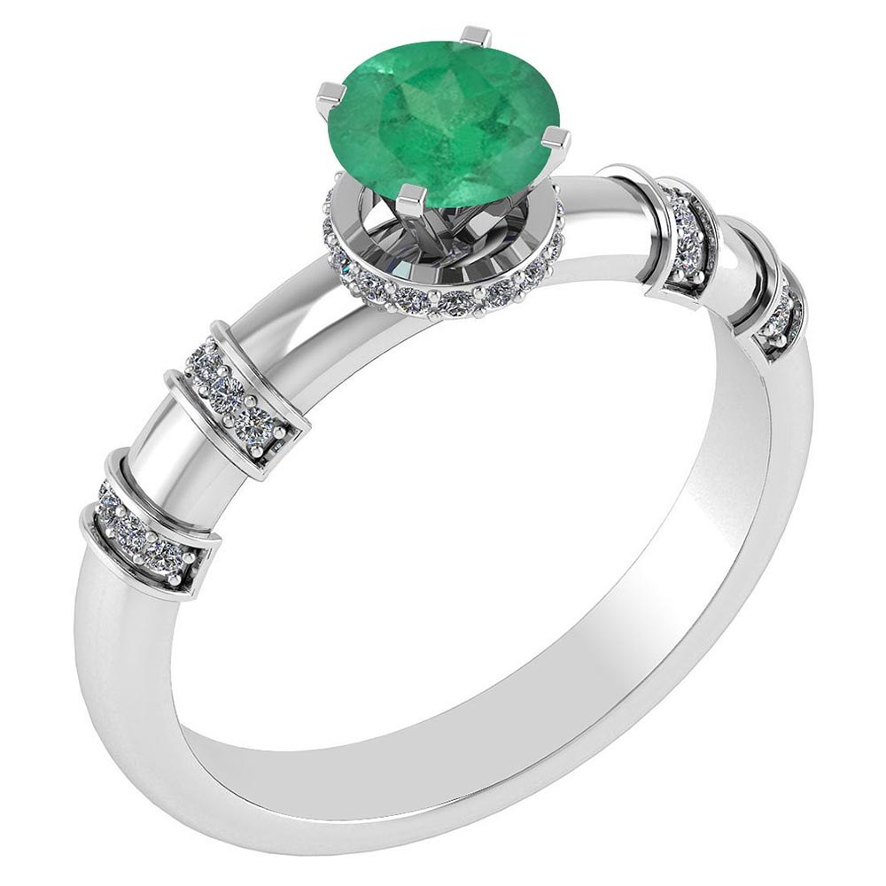 Certified .96 Ctw Genuine Emerald And Diamond 14k White Gold Engagement Ring #PAPPS94573