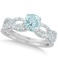 Aquamarine and Diamond Infinity Style Bridal Set 14k White Gold 1.64ct #82898v3