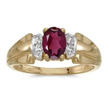Certified 10k Yellow Gold Oval Rhodolite Garnet And Diamond Ring 0.88 CTW #50548v3