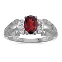 Certified 10k White Gold Oval Garnet And Diamond Ring 0.71 CTW #50546v3