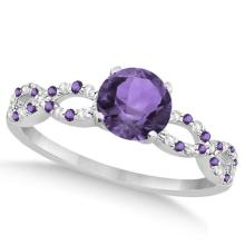 Infinity Diamond and Amethyst Engagement Ring 14K White Gold 1.05ct #82924v3