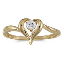 Certified 10k Yellow Gold Round White Topaz Heart Ring 0.11 CTW #50563v3