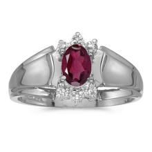 Certified 10k White Gold Oval Rhodolite Garnet And Diamond Ring 0.5 CTW #50726v3