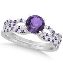 Amethyst and Diamond Infinity Style Bridal Set 14k White Gold 1.69ct #82928v3