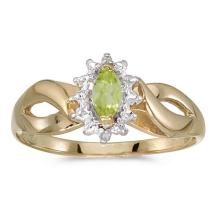 Certified 10k Yellow Gold Marquise Peridot And Diamond Ring 0.23 CTW #50586v3
