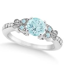 Butterfly Aquamarine and Diamond Engagement Ring 14K White Gold 0.73ct #82948v3