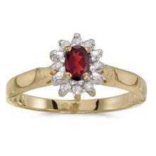 Certified 14k Yellow Gold Oval Garnet And Diamond Ring 0.31 CTW #50553v3