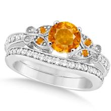 Butterfly Genuine Citrine and Diamond Bridal Set 14k White Gold 1.50ct #82967v3