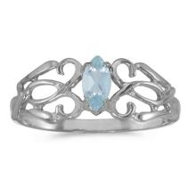 Certified 10k White Gold Marquise Aquamarine Filagree Ring 0.16 CTW #50710v3