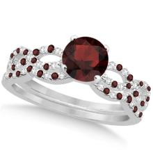 Infinity Style Garnet and Diamond Bridal Set 14k White Gold 1.29ct #82921v3