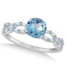 Infinity Diamond and Blue Topaz Engagement Ring 14K White Gold 1.05ct #82909v3