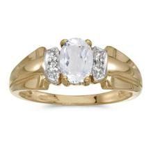 Certified 10k Yellow Gold Oval White Topaz And Diamond Ring 0.93 CTW #50571v3