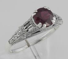 Natural Ruby Filigree Ring - Sterling Silver #98319v2