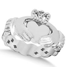 Classic Irish Claddagh Heart Celtic Ring Swirl Band 14k White Gold #71706v3