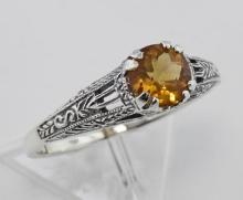 Citrine Filigree Ring - Sterling Silver #98329v2
