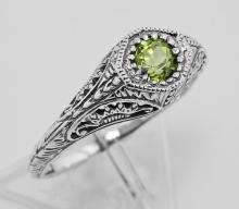 Peridot Filigree Ring - Sterling Silver #98168v2