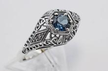 Art Deco Style London Blue Topaz & Diamond Ring - Sterling Silver #98328v2