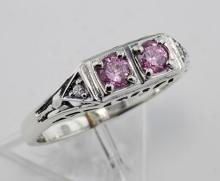 CZ Vintage Style Ring w/ 2 Diamonds - Sterling Silver #98330v2