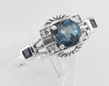 Sterling Silver London Blue Topaz / Sapphire / CZ Filigree Ring - Art Deco Style #98408v2