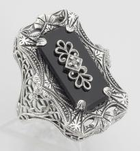 Antique Victorian Style Black Onyx Filigree Diamond Ring - Sterling Silver #98122v2