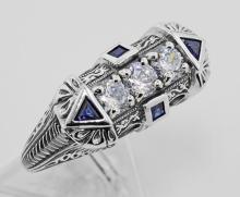 Sterling Silver Filigree Ring w/ Sapphires / CZ #98170v2