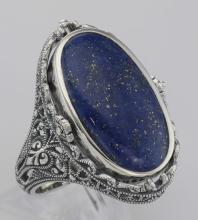 Antique Style Black Onyx and Lapis Filigree Flip Ring - Sterling Silver #98169v2