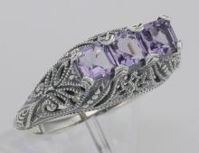 Art Deco Style Sterling Silver Filigree Ring 3 Princess Cut Amethyst Gemstones #98502v2