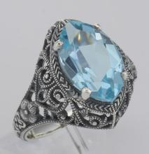 Beautiful 3 Carat Victorian Style Blue Topaz Filigree Ring Sterling Silver #98507v2