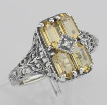 2 Carat Citrine Filigree Ring w/ Diamond - Sterling Silver #98121v2