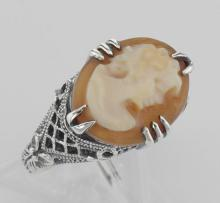 Antique Style Hand Carved Italian Shell Cameo Ring - Sterling Silver #98129v2