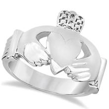 Authentic Irish Claddagh Heart Friendship Ring Band in 14k White Gold #71703v3