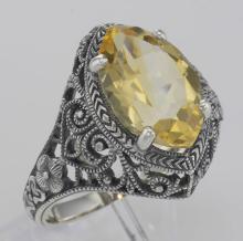 Beautiful 3 Carat Victorian Style Genuine Citrine Filigree Ring Sterling Silver #98506v2