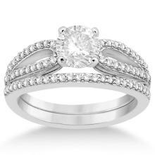Cathedral Split Shank Diamond Ring and Band Set Palladium (0.35ct) #71904v3