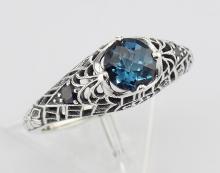 London Blue Topaz Filigree Ring with Sapphire Gems Sterling Silver #98407v2