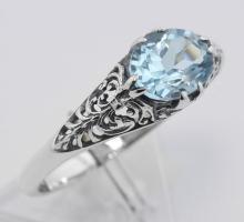 Blue Topaz Filigree Ring - Sterling Silver #98118v2
