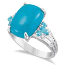 Genuine Turquoise Ring with Blue Topaz Accent Sterling Silver 7.55ctw #71691v3