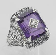 Art Deco Style Amethyst and Diamond Ring - Sterling Silver #98123v2