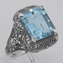 Art Deco Style Genuine Emerald Cut Blue Topaz Ring - Sterling Silver #98508v2