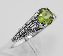 Art Deco Style Peridot Filigree Ring - Sterling Silver #98171v2