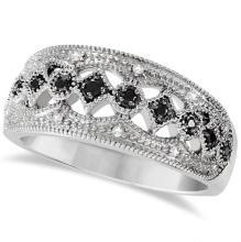 Ladies Black Spinel Wide Band Gemstone Ring Sterling Silver 0.16ctw #71687v3