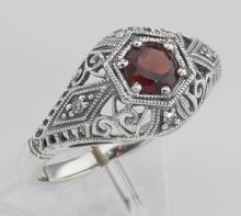 Art Deco Style Garnet Filigree Ring w/ 4 Diamonds - Sterling Silver #98429v2