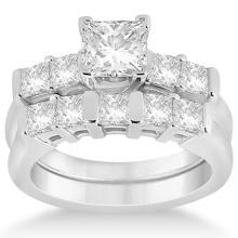 Five Stone Princess Cut Diamond Bridal Set Palladium (0.90ct) #71948v3