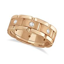 Mens Wide Band Diamond Eternity Wedding Ring 18kt Rose Gold (0.40ct) #21357v3