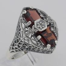 Art Deco Style 2 Stone Garnet and Diamond Filigree Ring Sterling Silver #98531v2