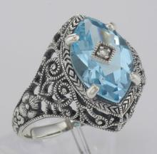 Victorian Style Sterling Silver Blue Topaz Filigree Ring w/ Diamond Center #98525v2