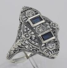 Art Deco Style Filigree Ring Blue Sapphires and 3 Diamonds - Sterling Silver #98524v2