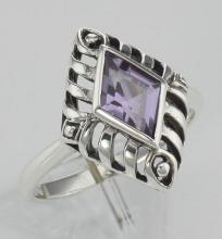 Art Deco Style Genuine Amethyst Filigree Ring - Sterling Silver #98110v2