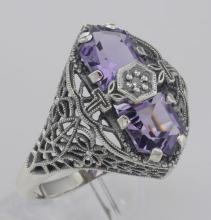Art Deco Style 2 Stone Amethyst and Diamond Filigree Ring Sterling Silver #98530v2