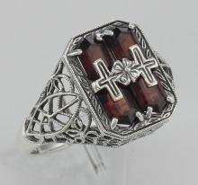 Antique Style Genuine Red Garnet Cross Filigree Ring - Sterling Silver #98124v2