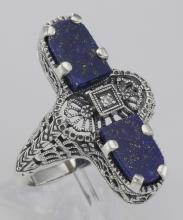 Art Deco Style 2 Stone Blue Lapis Lazuli Diamond Filigree Ring Sterling Silver #98538v2